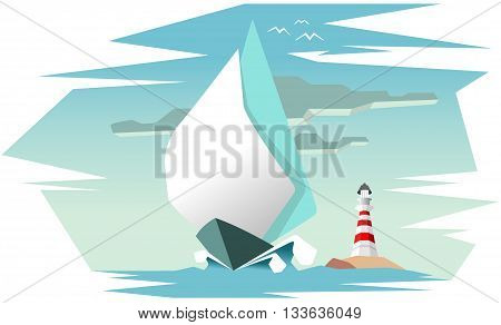 unique design sailing boat on the sea