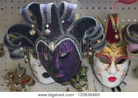 beautiful traditional Venice mask with colorful decoration