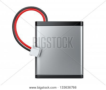 Rechargeable Li-ion battery with power plugs. Isolated on white background 3d image