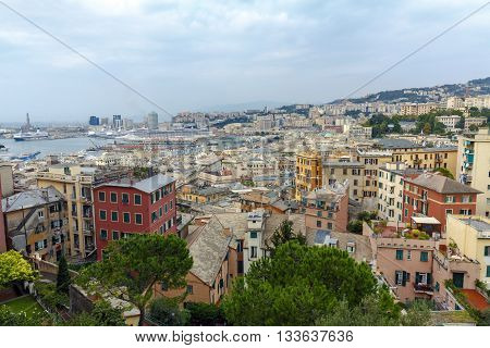 Genoa Italy - September 27 2015: Panoramic view port of Genoa in a summer day Italy
