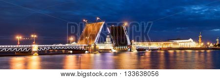 The Raised Palace Bridge At White Nights