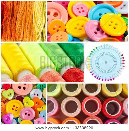 Collage of accessories and tools for sewing