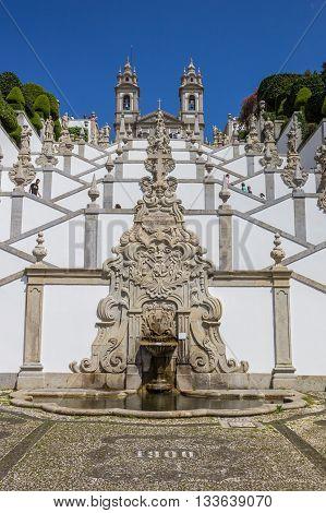 BRAGA, PORTUGAL - APRIL 25, 2016: Fountain at the stairs of the Bom Jesus Church in Braga, Portugal