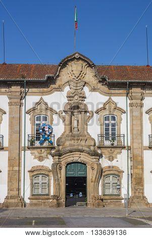 BRAGA, PORTUGAL - APRIL 26, 2016: Town hall in the center of Braga, Portugal