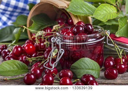 healthy local organic cherries ready for canning