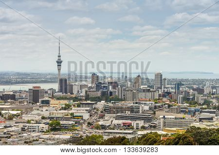 Auckland New Zealand - November 21 2014: Auckland skyline looking from the top of Mount Eden. Auckland has been rated one of the world's top 10 cities to visit by travel bible Lonely Planet.
