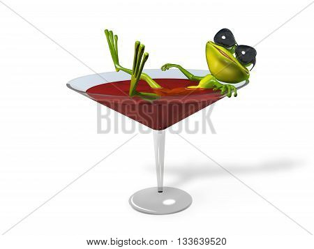 3d Illustration green frog in a glass of wine
