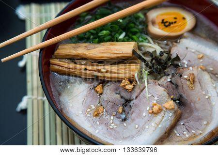 tonkotsu pork ramen japanese noodle close view