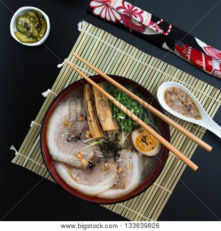 japanese tonkotsu ramen, pork bone broth noodles, top view