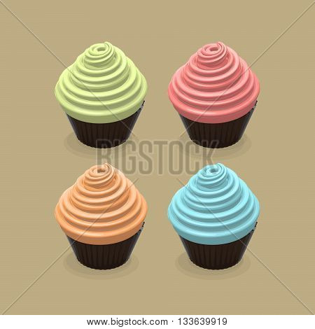 Vector Cupcake Set. Vector Food Illustration Of Cupcakes. Sweet Birthday Cupcakes Illustration. Cupcakes or Muffins Food Illustration