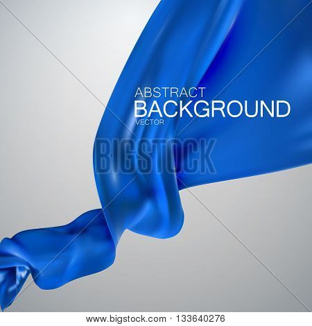 Blue silk fabric. Vector illustration with blue satin or silk fabric. Vector silk textile. Grand business opening or fashion concept