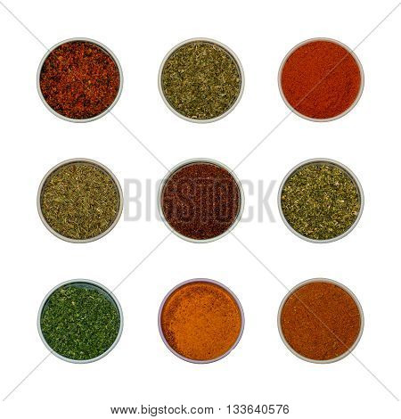 Colorful spices and herbs for cooking background and design isolated - flat lay set 2
