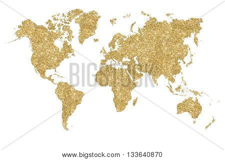 World map filled with gold glitter and sparkles