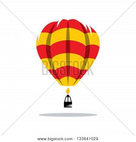 Aerostat red yellow color pattern icon isolated on a white background
