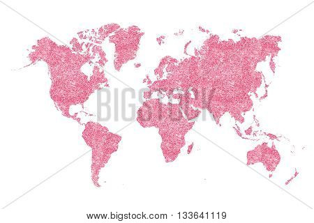 World map filled with pink glitter and sparkles