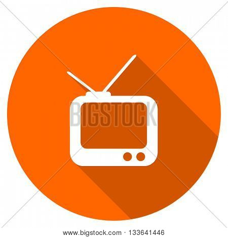 tv vector icon, circle flat design internet button, web and mobile app illustration