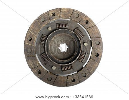 Old rusty used car clutch disc on white background