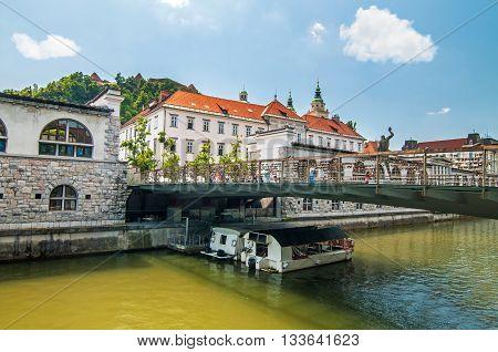 Butcher's bridge and Ljubljanica river underneath, Ljubljana Slovenia