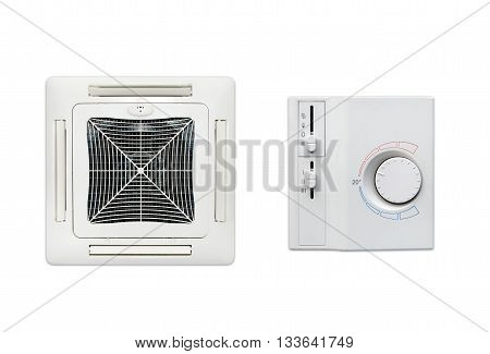 Ceiling Air Conditioner And Thermostat Set Isolated On White Background