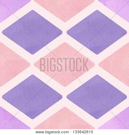 Vector seamless pattern with purple rhombus. Watercolor style