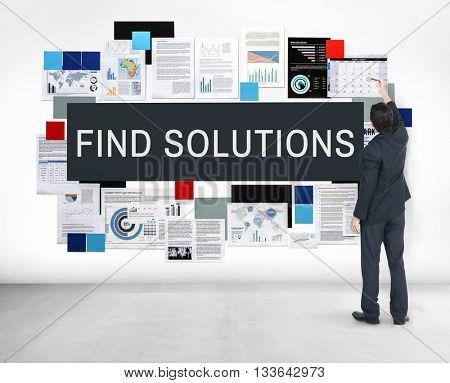 Find Solution Problem Solving Progress Result Concept