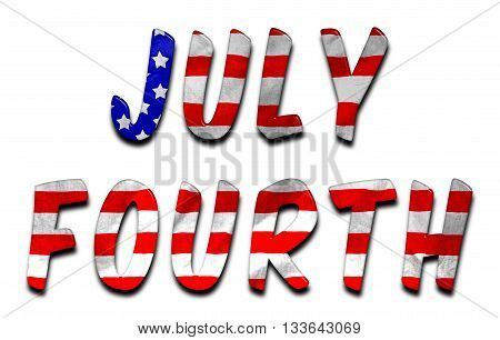 July Fourth words with a beveled American flag texture on an isolated white background with a clipping path with and without the shadow