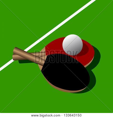 table tennis. Two rackets and a ball on a green table for game in ping pong