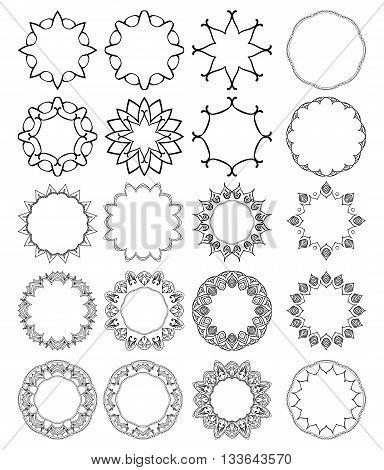 Big set of round mandala borders for design.