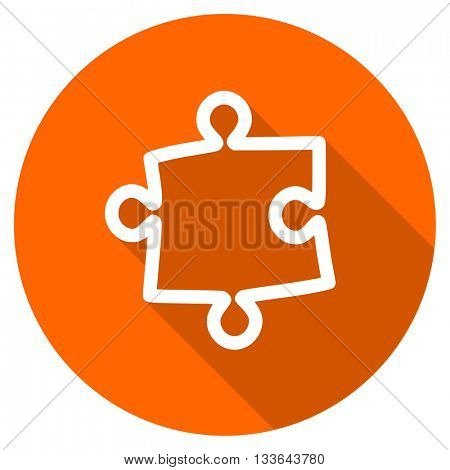 puzzle vector icon, circle flat design internet button, web and mobile app illustration