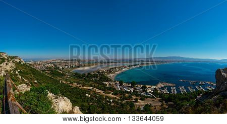 Panoramic Wide Angle View To The Cagliari And Poetto Beach In Sardegna