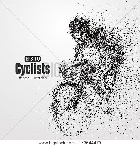 Cyclists particle divergent composition,Silhouette, sketch, vector illustration.