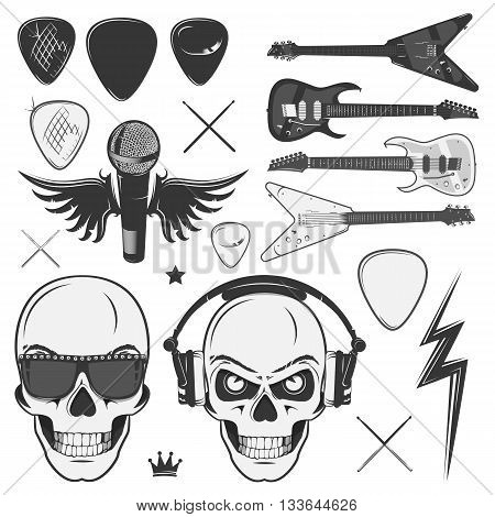 Set of vintage rock and roll skull