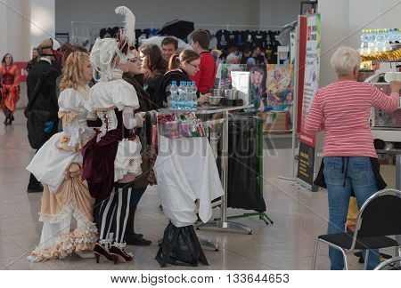 Cosplayers Waiting For Coffe At Animefest
