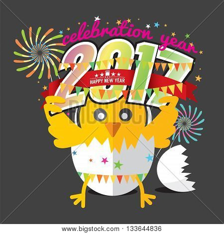 Cute Chick Celebrating 2017 With Colorful Firework Vector Illustration. EPS 10