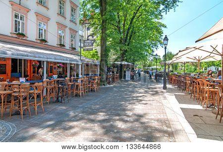 Ljubljana Slovenia - June 7 2016 Popular and famous cafe bar in Ljubljanas old town center called Macek