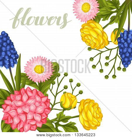 Invitation card with garden flowers. Decorative hortense, ranunculus, muscari and marguerite. Image for wedding invitations, romantic cards, posters.