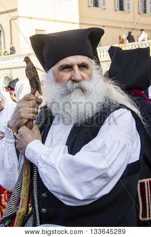 CAGLIARI, ITALY - May 1, 2016: 360 ^ Sant'Efisio Festival - Sardinia - portrait of a man in traditional Sardinian costume