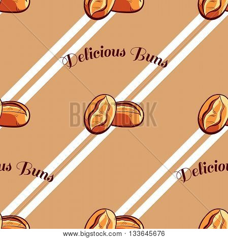 Seamless pattern made from hand drawn buns and text on brown background. Vector illustration.