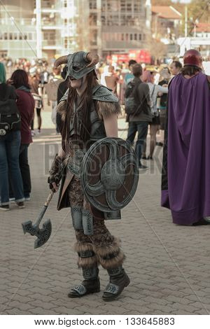 Cosplayer Dressed As Character Dovahkiin From Game Skyrim