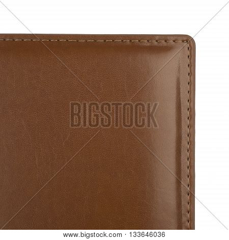 Brown leather cover with seams, isolated on white background.