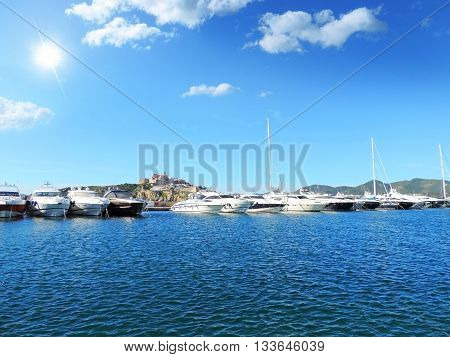 Ibiza harbor, view to the fort from the harbor