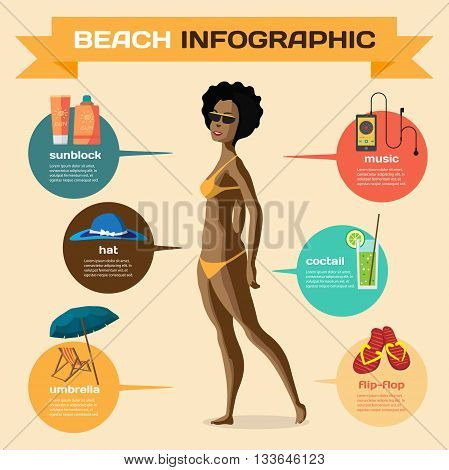 Vector Infographic set flat design about afro woman on the beach. Clothing accessories things on beach and the use. Infographics beach time sunbathe swim leisure favorite