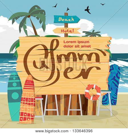 Summer vacation beach concept background with space for text. Sea landscape summer beach wooden board with space for text on beach bar. Vector cartoon flat illustration.