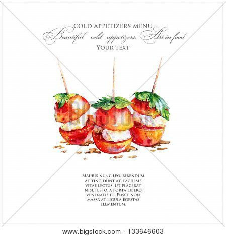 Bright appetizer of tomatoes with cheese on a skewer. Vegetarian snack. Watercolor illustration of food.