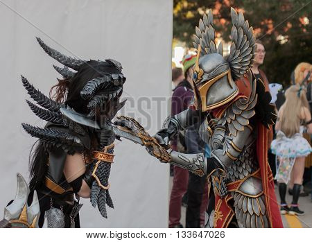Two Cosplayers Dressed As The Characters Neltharion And Paladin