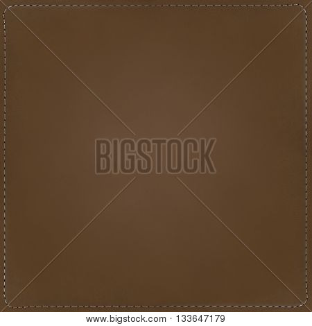 Brown textile background with seams around, pattern.