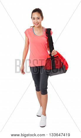 Asian Smiling fit young woman with gym bag standing ready for fitness exercise Isolated on white background.