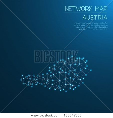Austria Network Map. Abstract Polygonal Map Design. Internet Connections Vector Illustration.