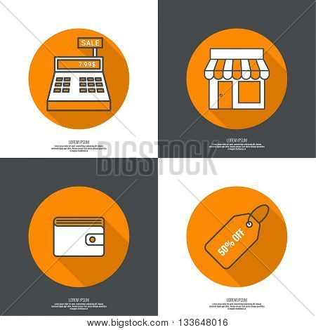 Set of vector icons pictograms in flat style of mobile and web applications. minimal, outline. Purse, shop, cash desk, tag, Wallet. concept of E-commerce