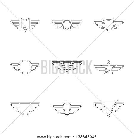 Badge and shield with wings. Symbol of military and civil aviation. Outline  emblems
